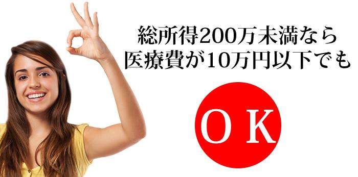 総所得が200万未満なら医療費が10万円以下でもOK!